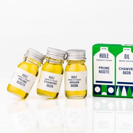 Le Baigneur - Coffret pour Homme - 3 Huiles Visage & Barbe - Vegan & Bio - Select Store Cosmétiques Vegans