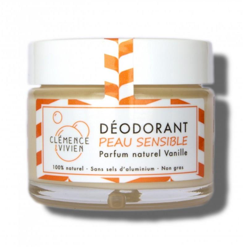 Clémence et Vivien - Déodorant naturel et Vegan - Vanille - Spécial peaux sensibles - Fabriqué en France, Vegan et Clean