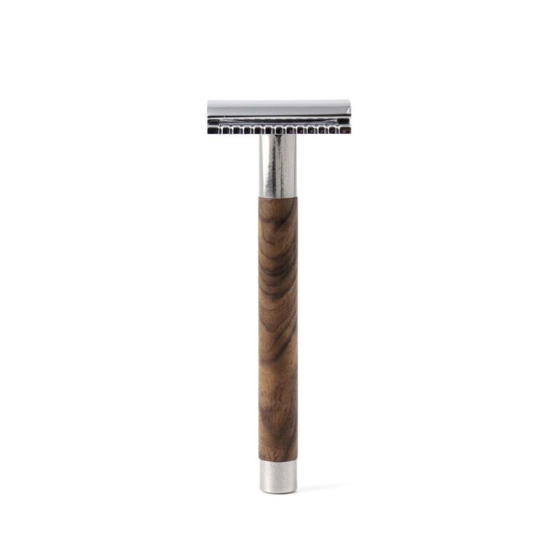 Gentleman Barbier - Rasoir de sûreté en Bois et Acier Inoxydable - Rasage et épilation zéro déchet