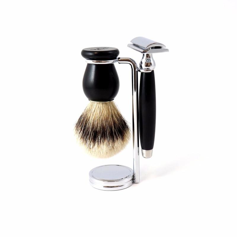Gentleman Barbier - Support à rasoir et blaireau - Acier Chromé - Select store éthique Cosmétiques Vegans