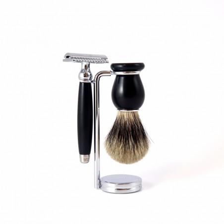 Gentleman Barbier - Coffret Rasage traditionnel - Blaireau, Rasoir et support - Select store éthique Cosmétiques Vegans
