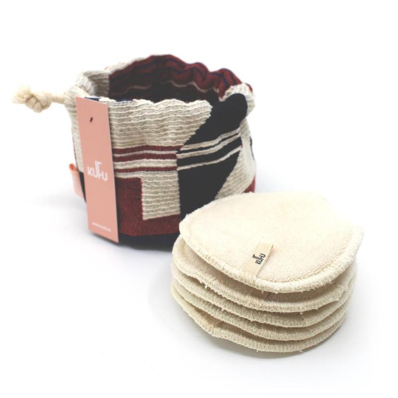Kufu - Bourse de 5 cotons bio lavables - Savannah - Vegan, Bio & Zéro déchet - Select store éthique Cosmétiques Vegans
