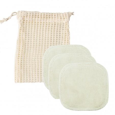 Avril - Coffret Carré démaquillant lavable bio x 3 & Filet de Lavage - Zéro déchet - Select store éthique Cosmétiques Vegans