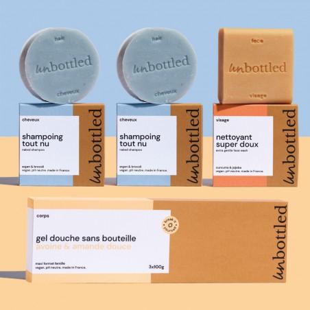 Unbottled - Pack Familiale - Shampoings, Nettoyant Visage et Maxi Gel douche Solides - Avoine & Amande - Vegan & Zéro déchet