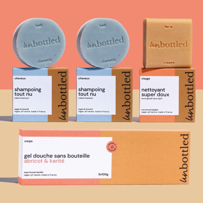 Unbottled - Pack Familiale - Shampoings, Nettoyant Visage et Maxi Gel douche Solides - Abricot & Karité - Vegan & Zéro déchet