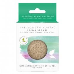 Eponge Konjac coréenne pour Visage - Thé Vert riche en antioxydant